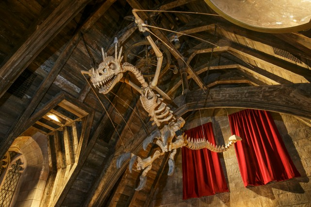 A dragon skeleton located inside the Defence Against the Dark Arts classroom within Hogwarts castle