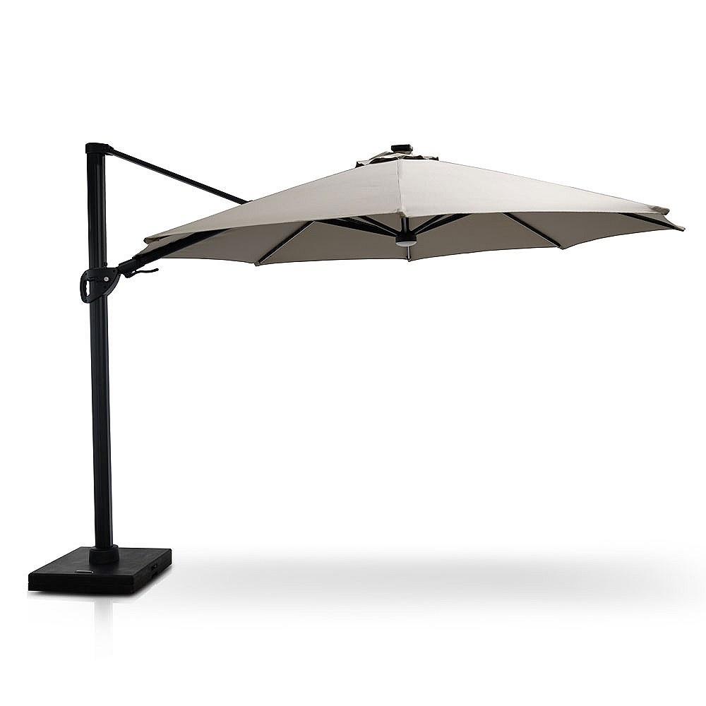stellar 12 round tilt top parasol with solar lights