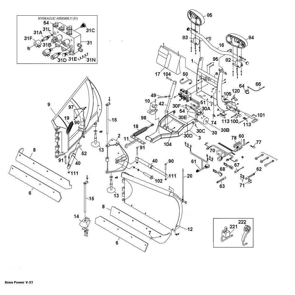 Boss RT3 V-PLOW Snow Plow Parts|Angelo's Supplies