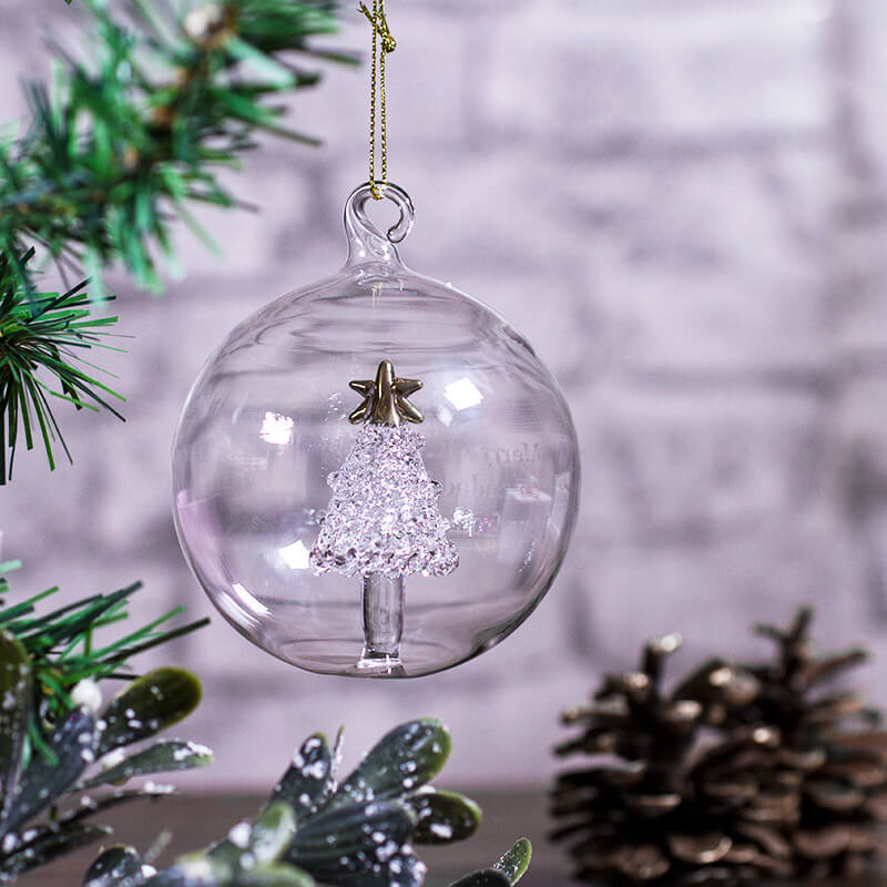 Personalised glass christmas tree decorations for Personalised christmas decorations