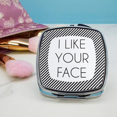 Personalised Square Compact Mirror