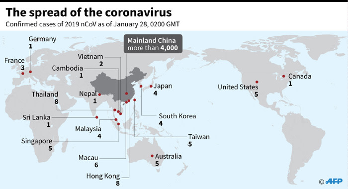 Coronavirus outbreak: Countries where virus has been detected