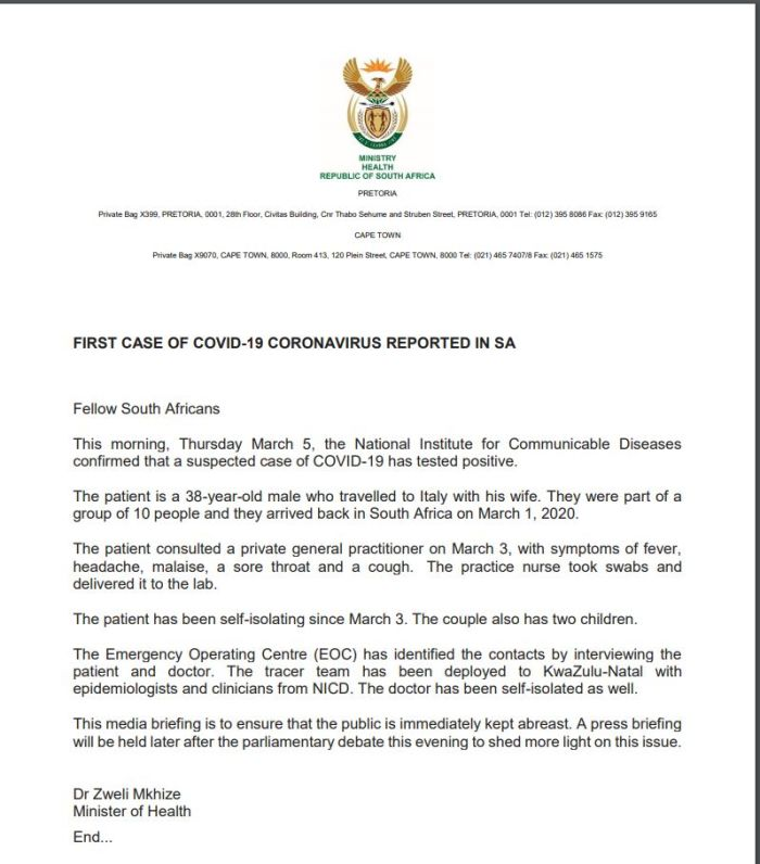 BREAKING: First case of coronavirus confirmed in South Africa