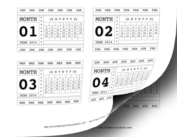 Printable 2014 Horizontal Scrapbook Calendar Cards