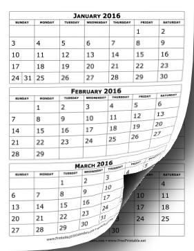 Printable 2016 Calendar Three Months Per Page