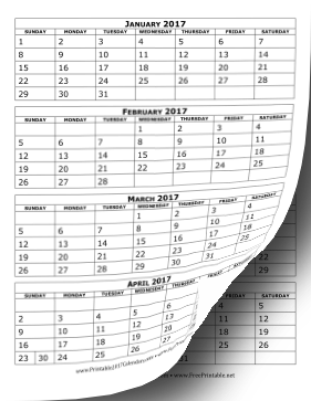 Printable 2017 Calendar Four Months Per Page