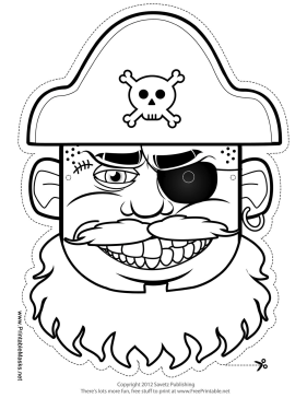 Printable Pirate Captain Mask to Color Mask