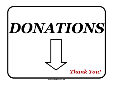 Printable Donations Sign Sign