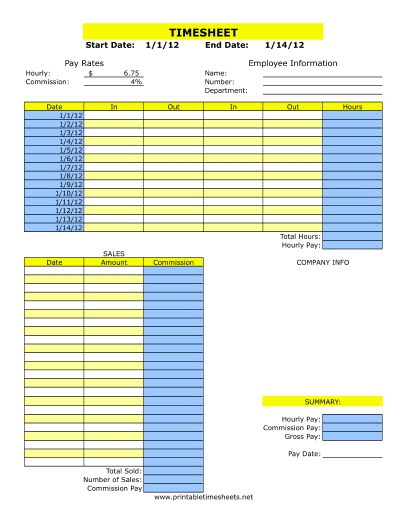 Timesheet with Commission Printable Time Sheet