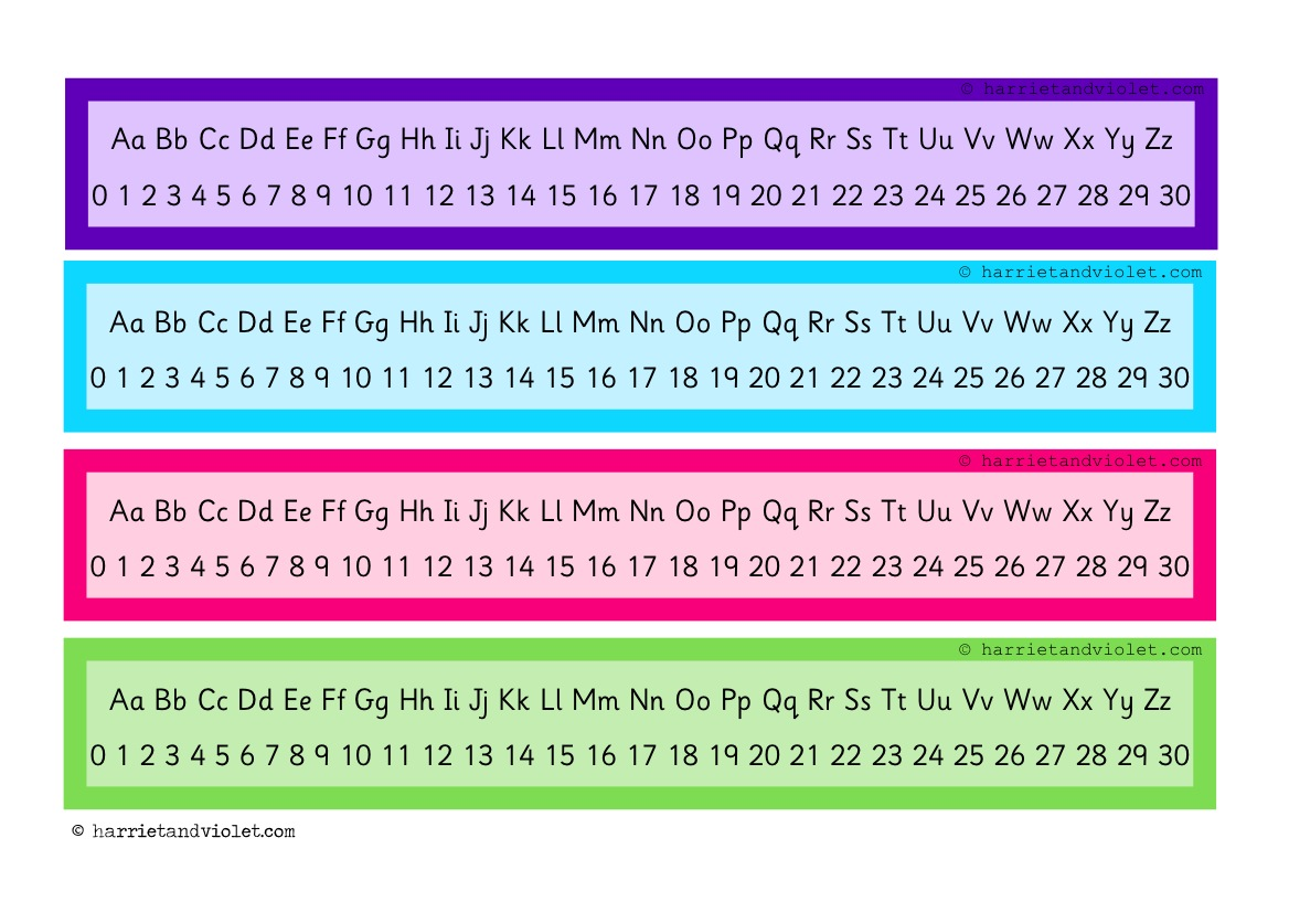 Number Line 0 To 30 Amp Alphabet Chart