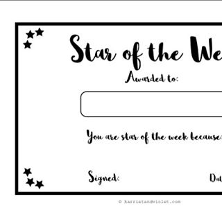 Star of the Week free printable certificates for the
