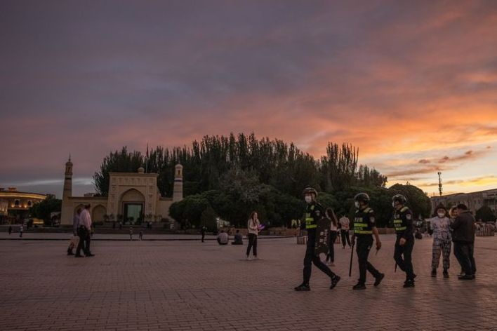 Police in Kashgar: No longer are security personnel heavily armed.