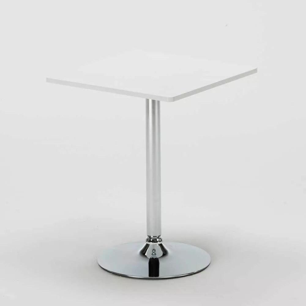 table carree blanche 70x70cm avec 2 chaises colorees set interieur bar cafe restaurant cocktail