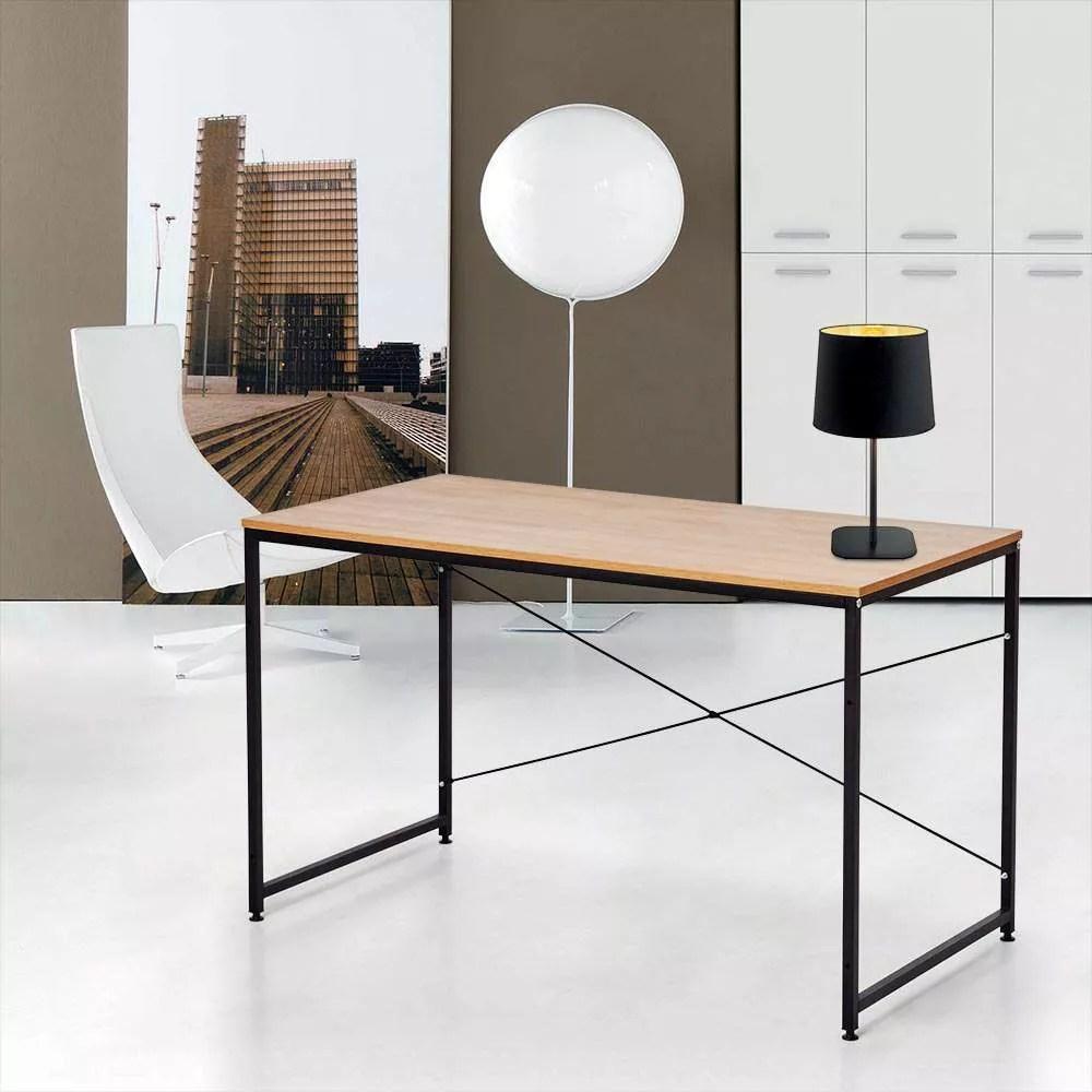 wootop xl bureau industriel 180x60 au design minimaliste bois et acier
