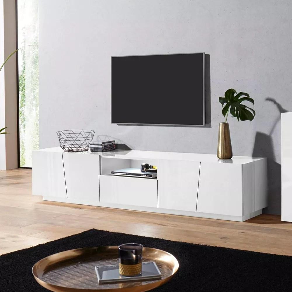 meuble tv design 4 portes tiroir coulissant blanc vega low xl
