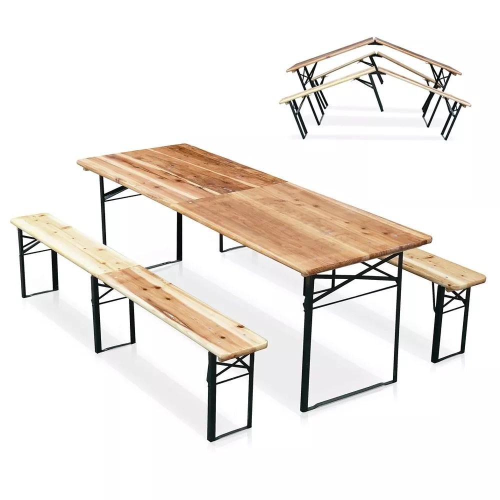 ensemble de 10 tables de brasserie pliantes et bancs en bois 220x80 cm