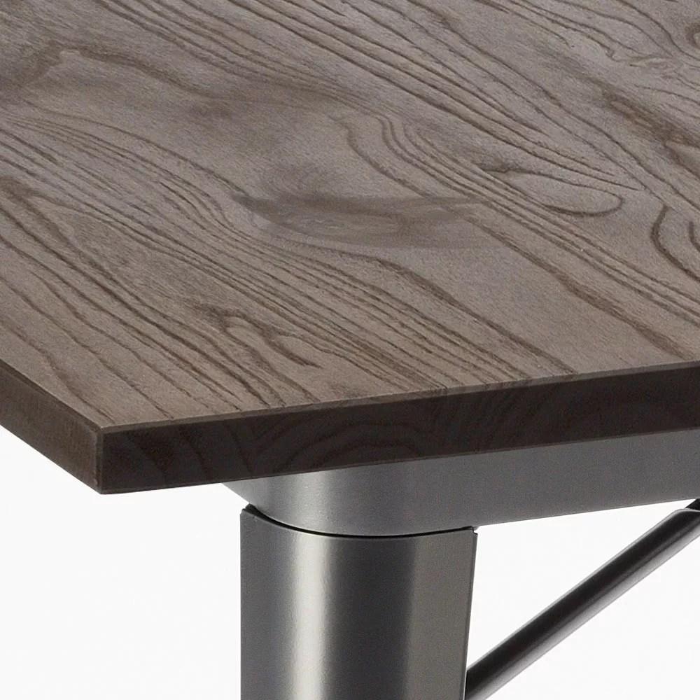 allen table industrielle tolix en acier et bois 80x80 au style moderne