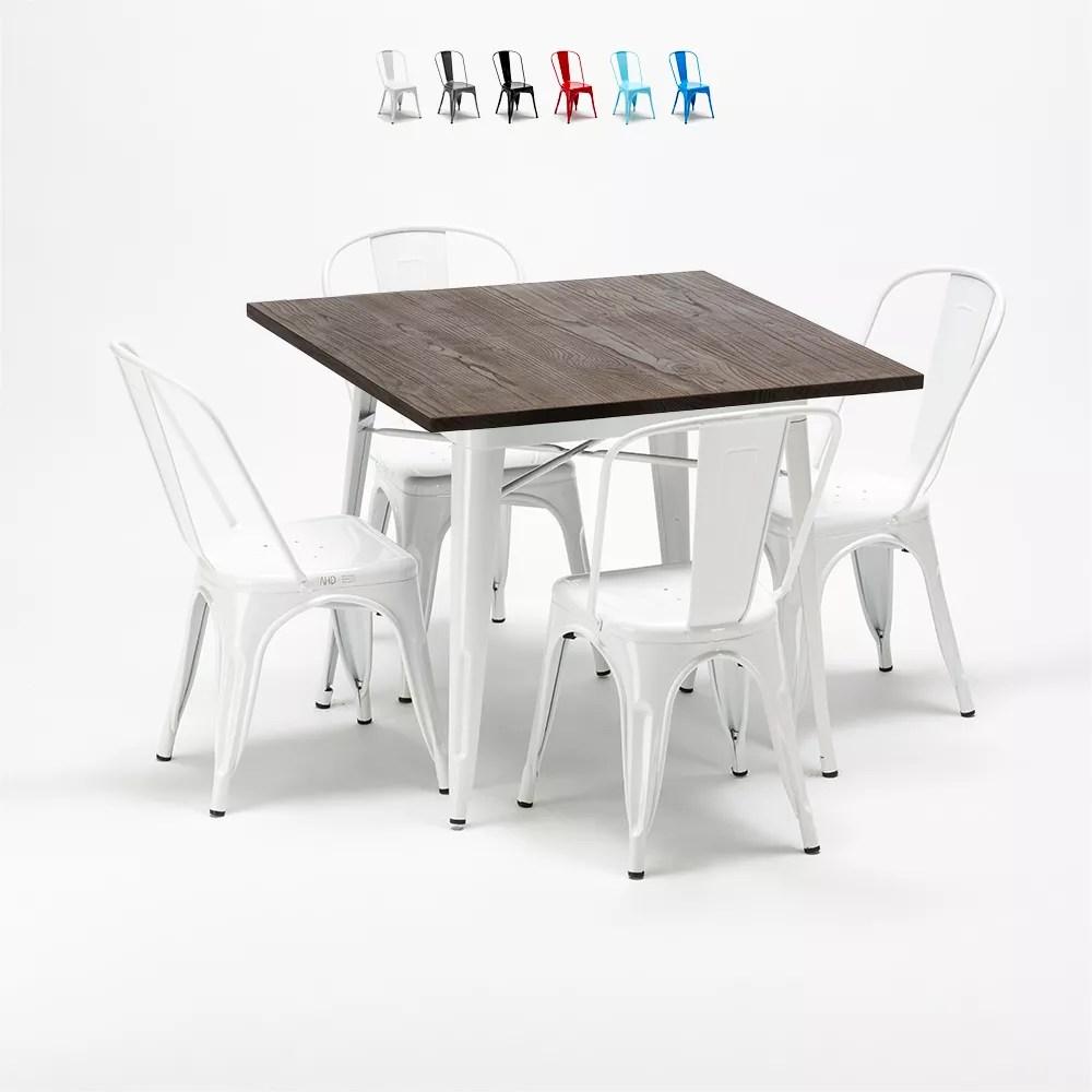 midtown table et chaises carrees en metal bois style industriel tolix