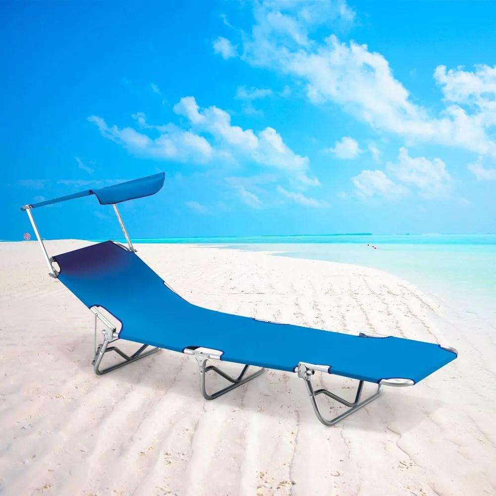 lit de plage pliant bain de soleil transat piscine aluminium jardin pare soleil verona lux