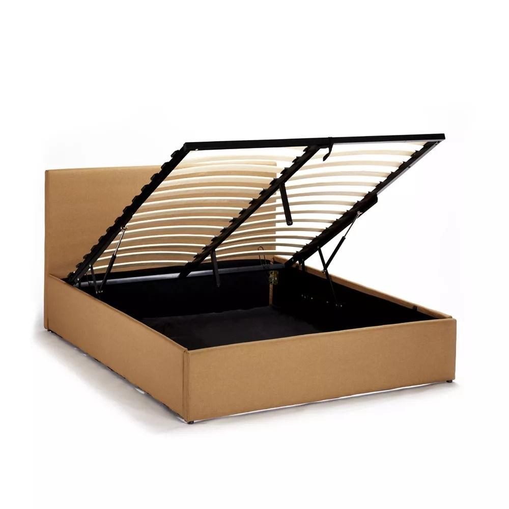 details sur lit d une place et demi avec sommier a lattes et coffre 120x190 basel