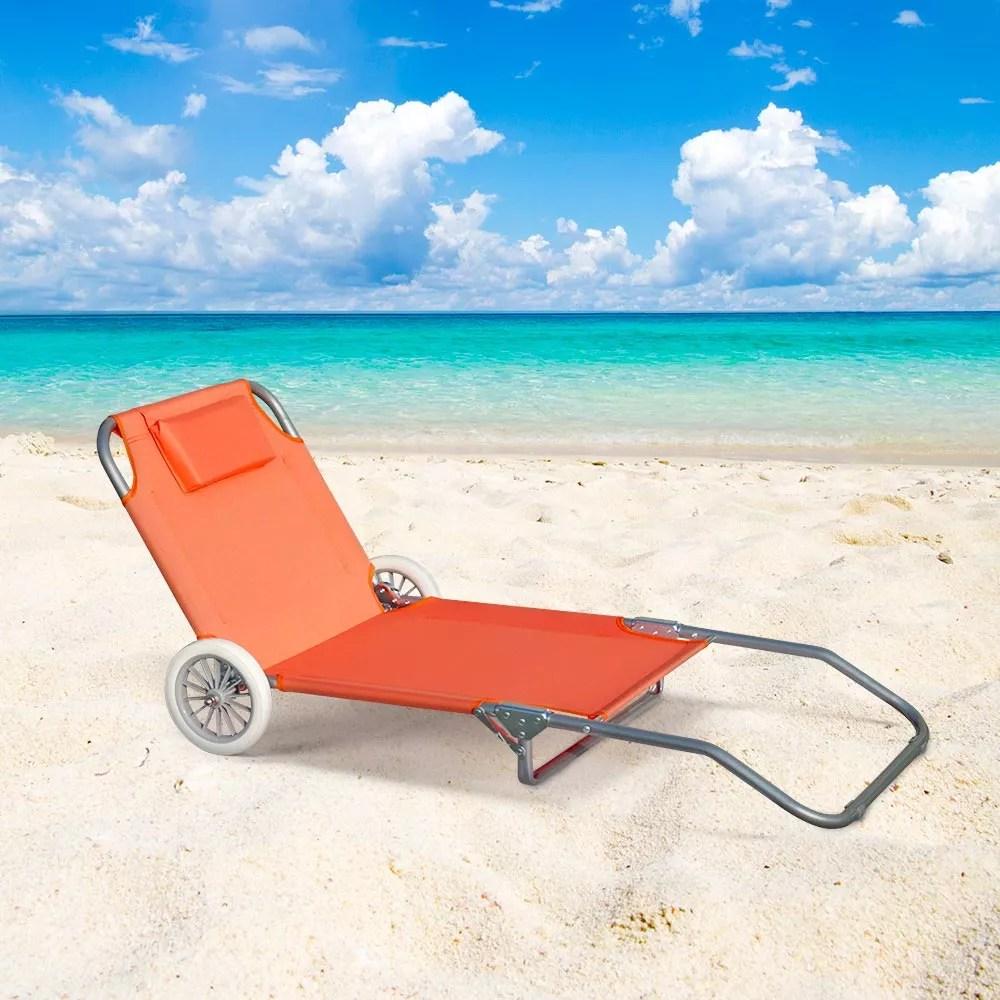 details sur lit de plage pliant bain de soleil transat piscine portable roues banana