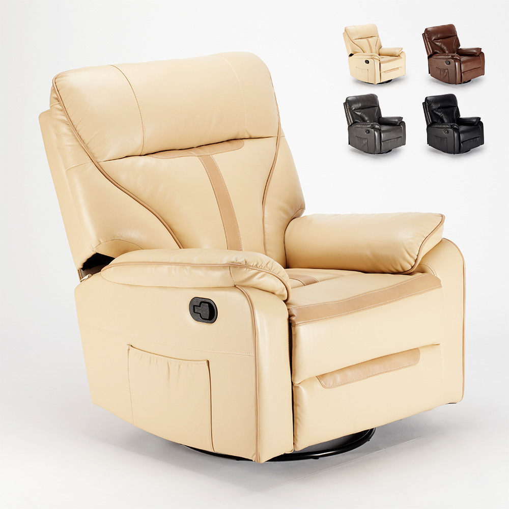 fauteuil relax a bascule inclinable et rotation a 360 en similicuir sissi