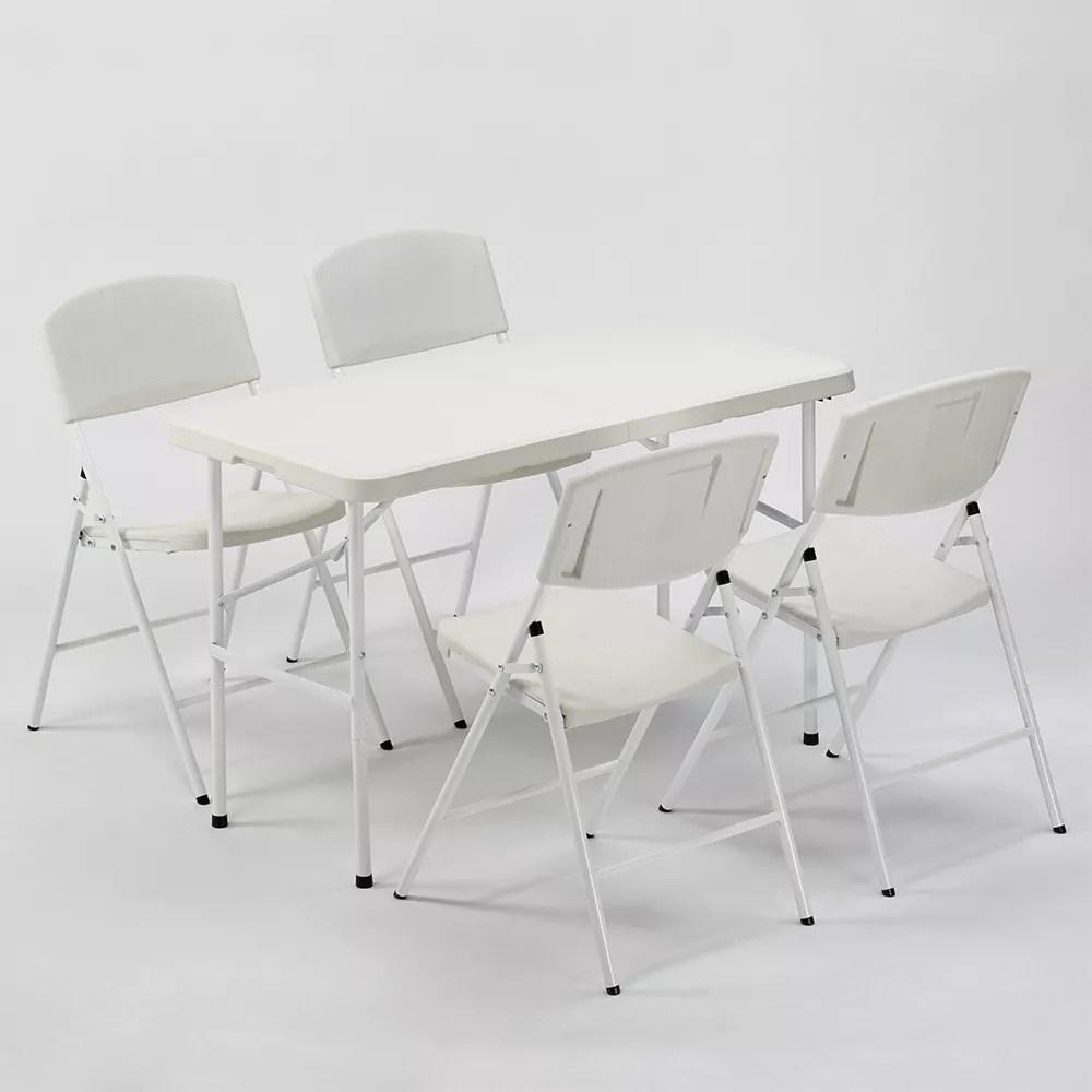 ensemble de table 120x60cm hood avec ses 4 chaises de camping pliantes