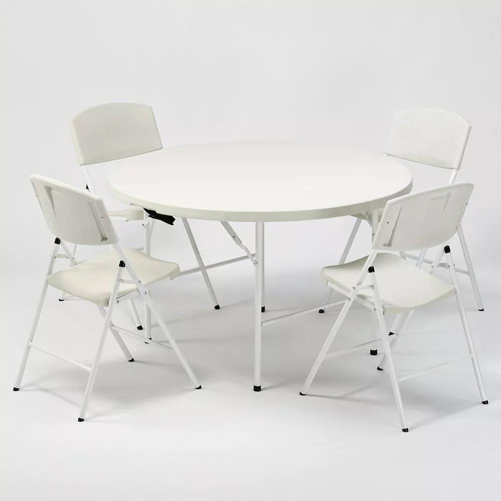 columbia table ronde et 4 chaises pliantes ideales pour camping et jardin