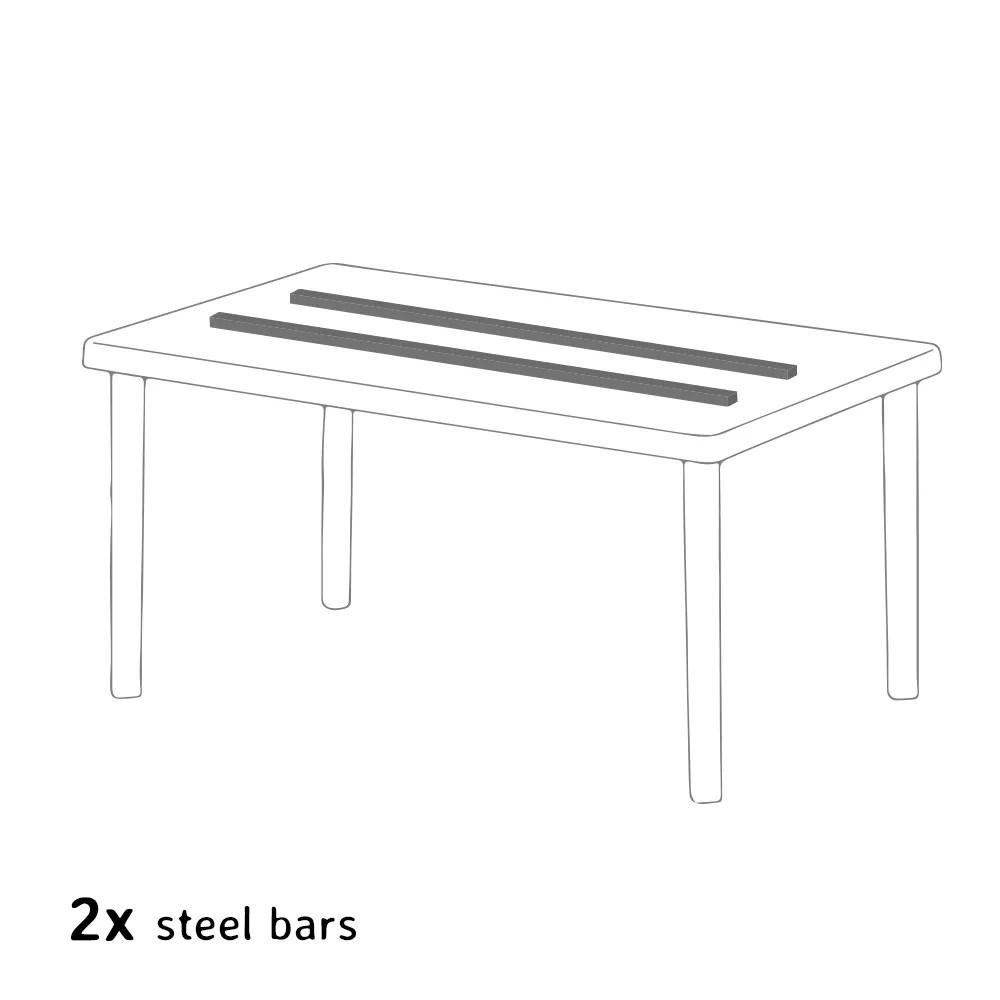 table rectangulaire blanche 150x90cm avec 6 chaises colorees grand soleil set exterieur bar cafe paris summerlife