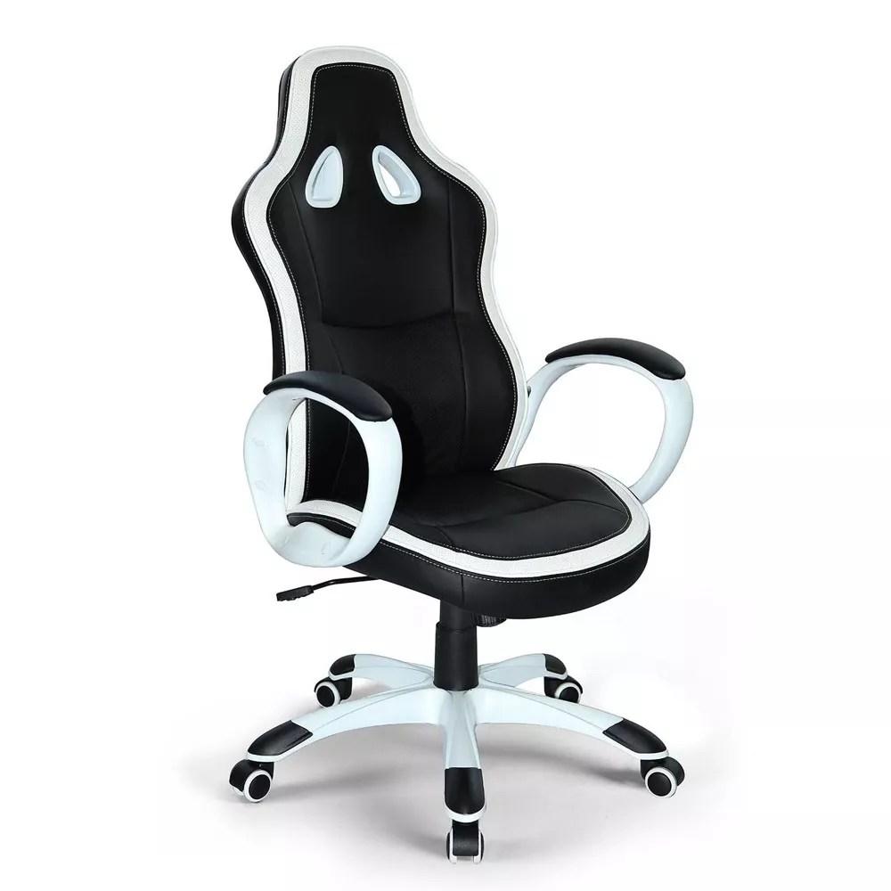 details sur chaise de bureau sportif fauteuil gamer ergonomique simili cuir super sport