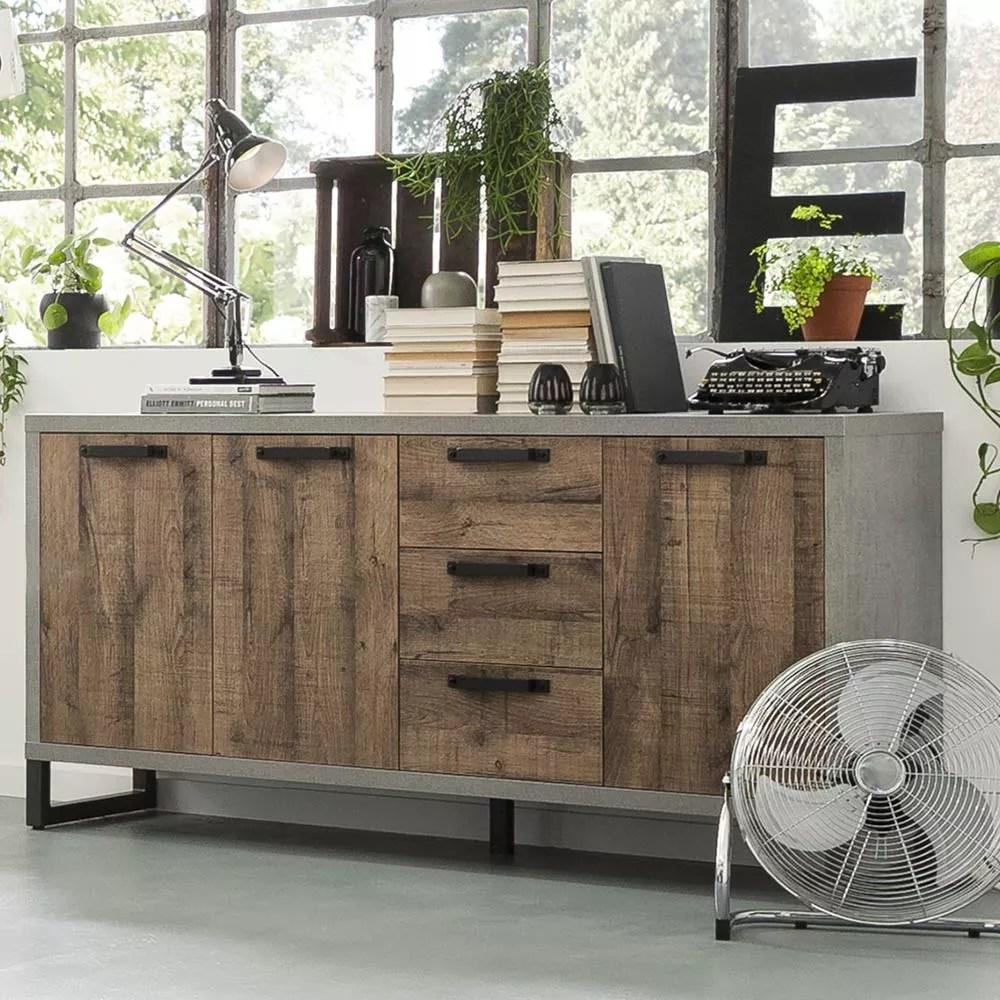 houston buffet en bois design industriel moderne pour cuisine et salon