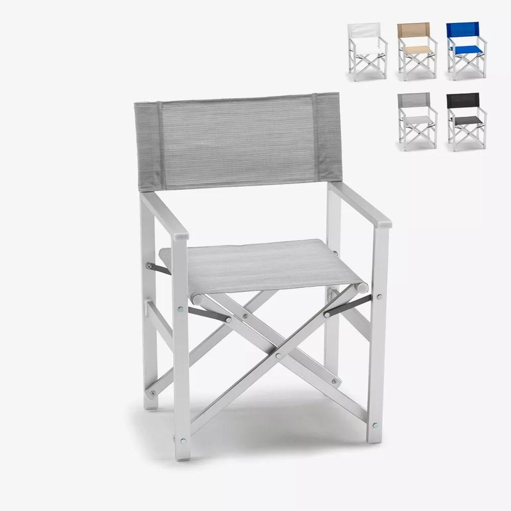 chaise transat style regisseur de plage pliante aluminium textilene lusso