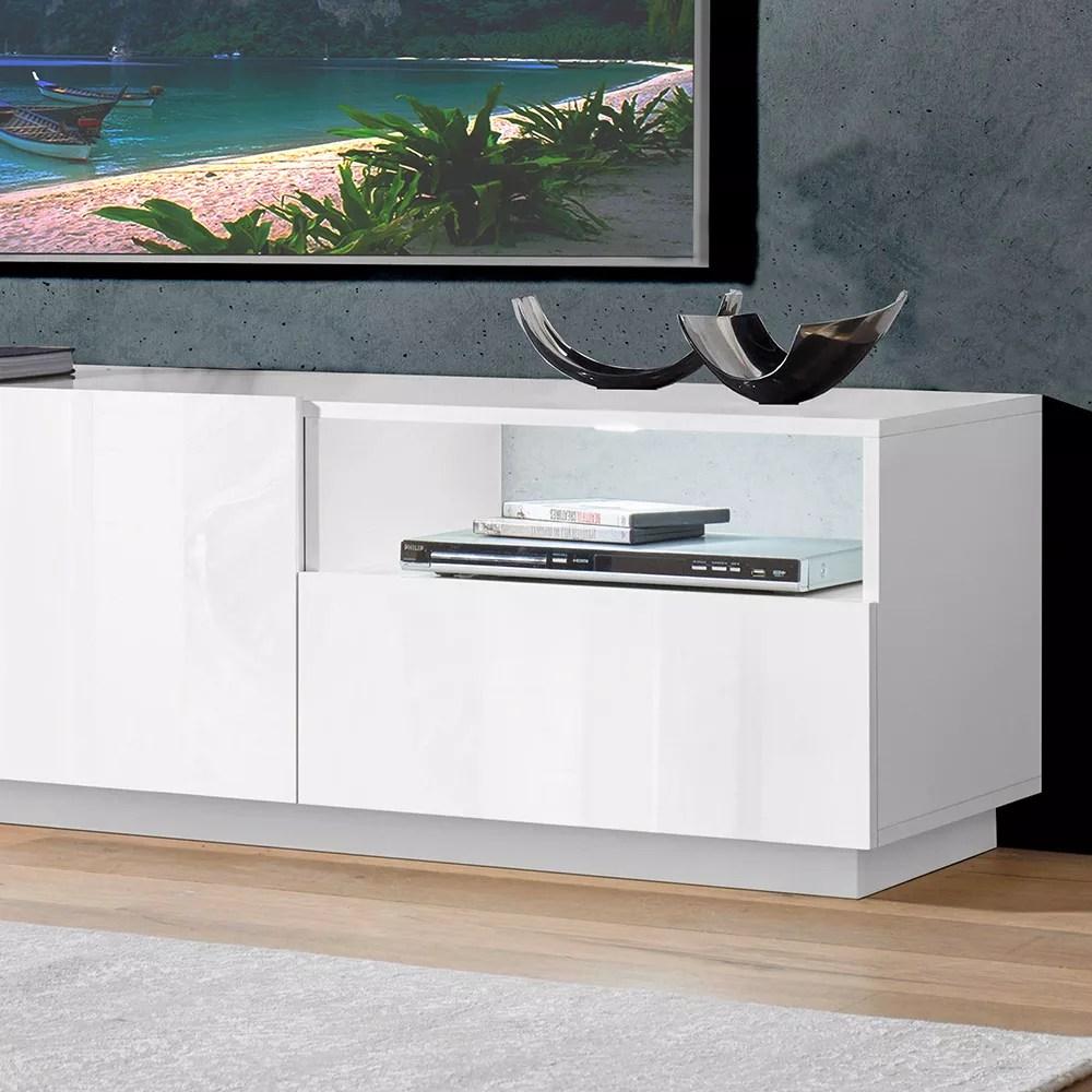 meuble tv moderne buffet salon 2 portes 1 tiroir 150cm vega stay