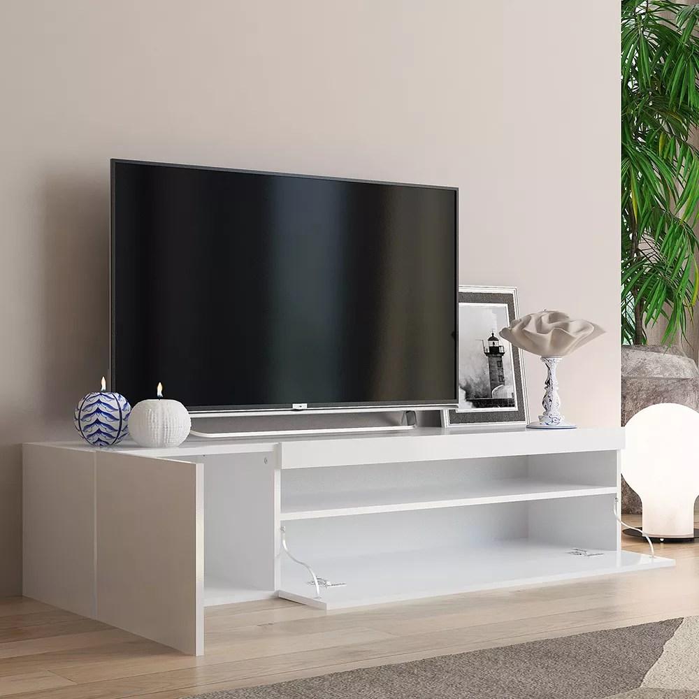 meuble bas meuble tv moderne avec porte et tiroir a rabat 150cm daiquiri white m