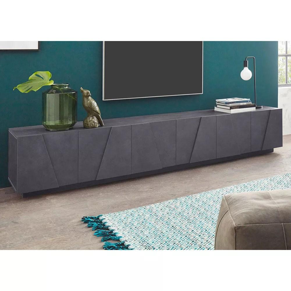Parete attrezzata legno pietra modulart; Ping Low Xl Ardesia Mobile Porta Tv Soggiorno Design Moderno 6 Ante 3 Vani