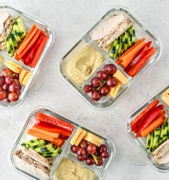 four chicken hummus plate lunch meal prep meals ready to be eaten  [ 2048 x 2048 Pixel ]