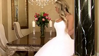 Bride in beautiful wedding dress spreading legs Preview Image