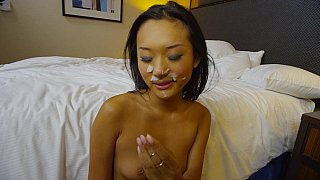 Asian babe riding and taking facial cumshot Preview Image