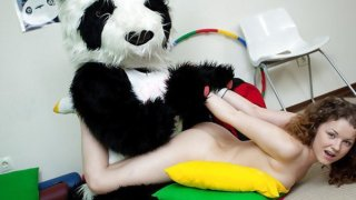 Sporty sexy teen fucks with funny Panda Preview Image