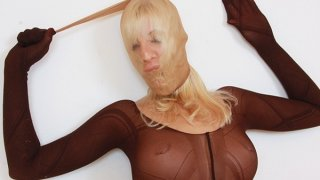 Slutty blonde distorted nylon mask face Preview Image