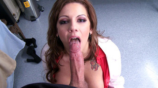 Nurse Lylith Lavey grabs a patient by the cock and sucks it Preview Image
