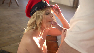 Lexi Lowe in an Army outfit orders him to fuck her mouth Preview Image