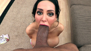 Amy Anderssen got down on her knees to suck his enormous black cock Preview Image