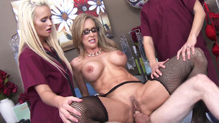 Two nurses watches on as Dr. Brandi Love fucks_her_patient Preview Image