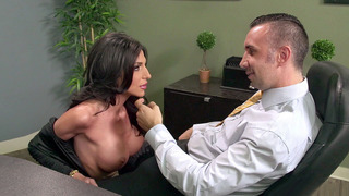Busty secretary Jaclyn Taylor gets her throat fucked by her boss Preview Image