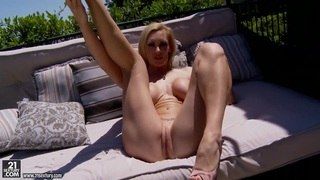 Cocky Tanya Tate masturbates while relaxing outside Preview Image