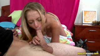 Eddiie Cox is lying on the bed and pleasuring hot deepthroat blowjob from sexy hot boobed chick Natasha Blaze. Preview Image