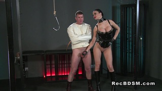 Slave in straitjacket gets handjob fetish femdom Preview Image