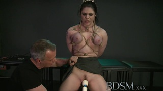 BDSM XXX Black haired sub has breasts tied by Master Preview Image
