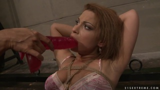 Many Bright hot lesbian force dildo fuck a hot babe Preview Image